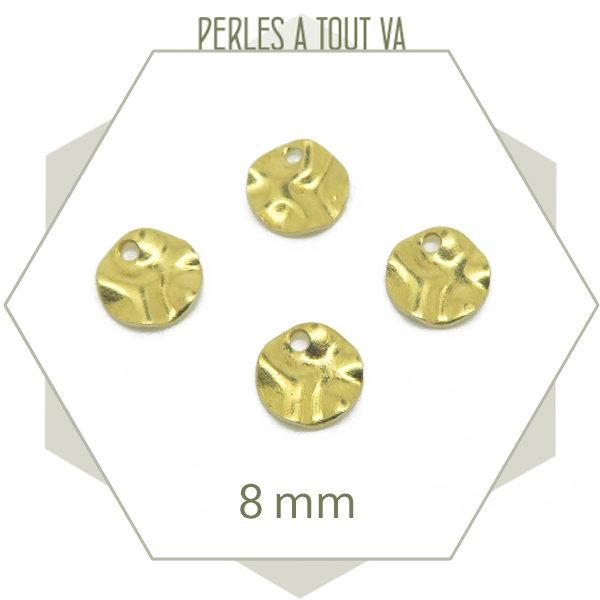 pendentif rond martelé doré