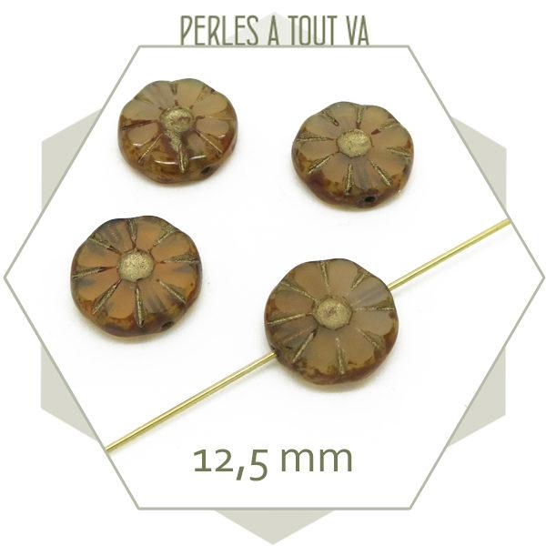 Bijou perles tchèque fleur