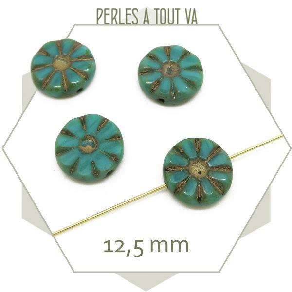 Perles tchèque fleur turquoise