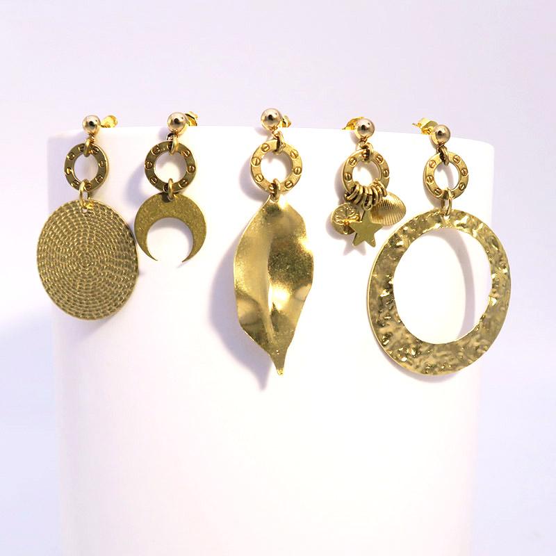Ensemble boucles d'oreilles dorées