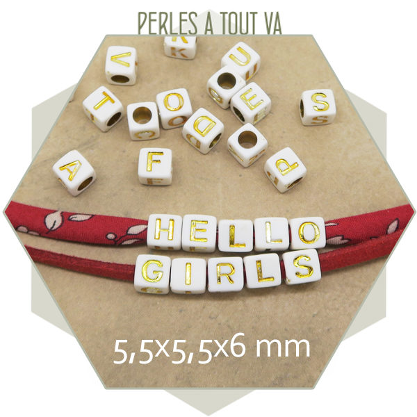 Vente perles lettres cubes