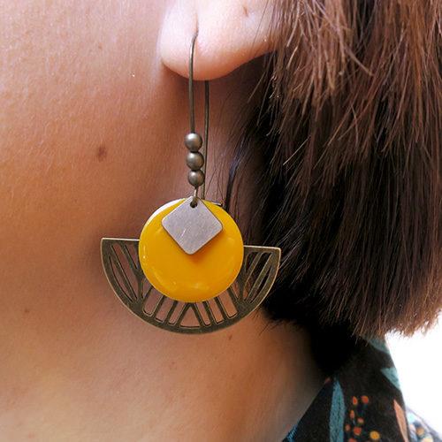 Création boucles d'oreilles couleur bronze