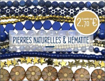 Achat perles hématite et pierre gemme