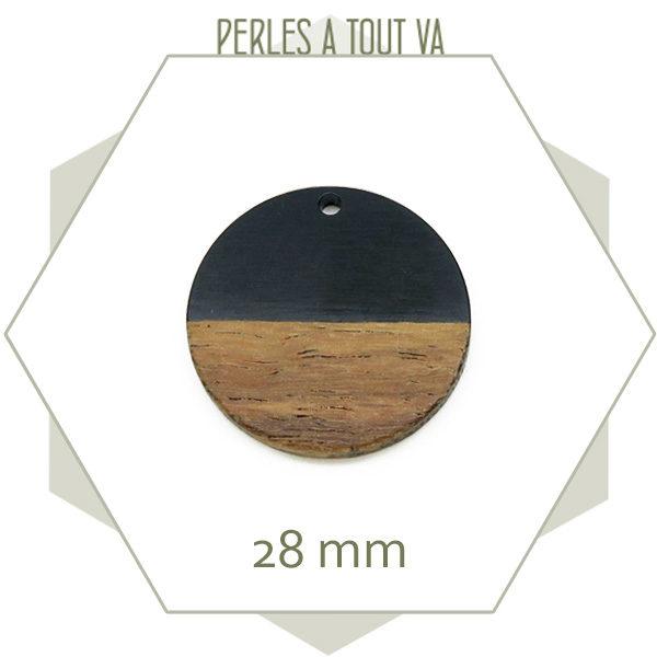 Achat breloque ronde bois et noir