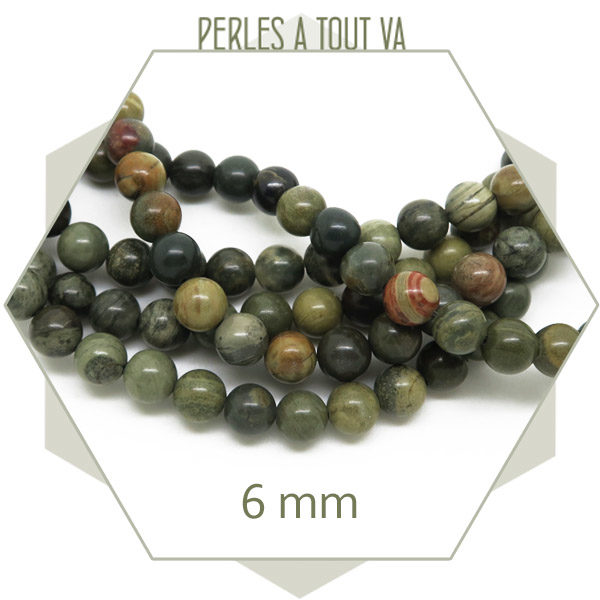 Rang perles rondes jaspe