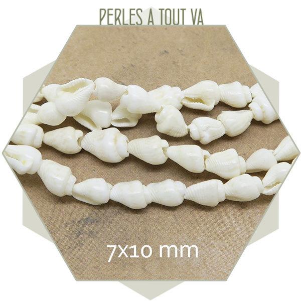 Vente perles coquillages blanc