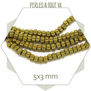 Vente de perles rondelle en hématite doré