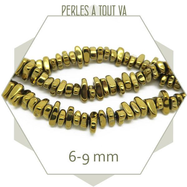Vente de perles chips en hématite doré