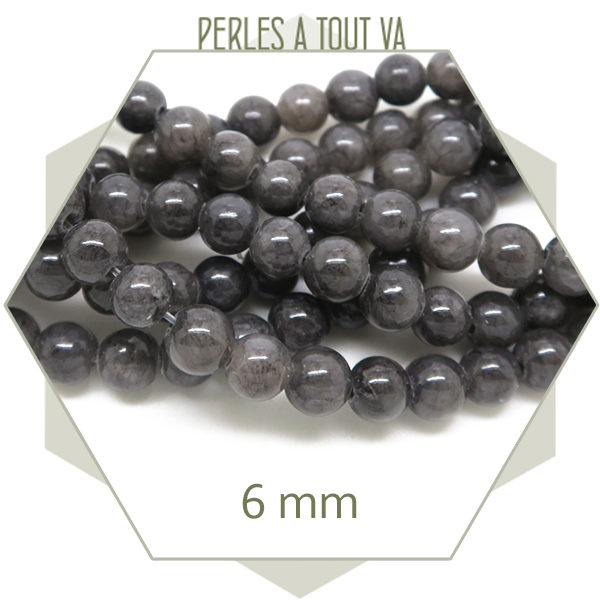 Vente de perles rondes en jade gris