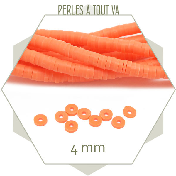 Perles heishi orange