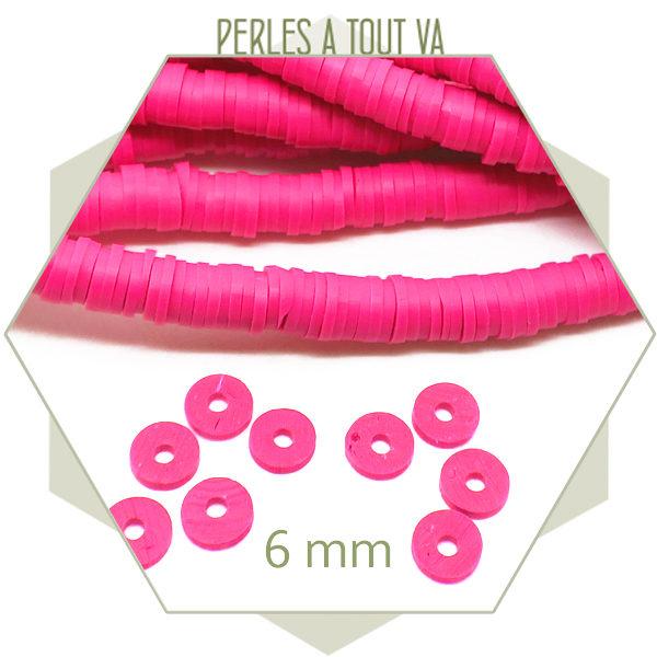 Vente fournitures perles heishi rose fluo