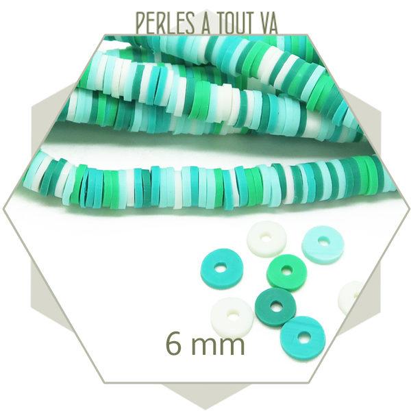 Grossiste perles heishi multicolore vert