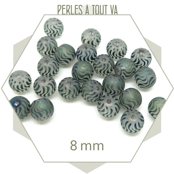 Grossiste perles en verre motif vague