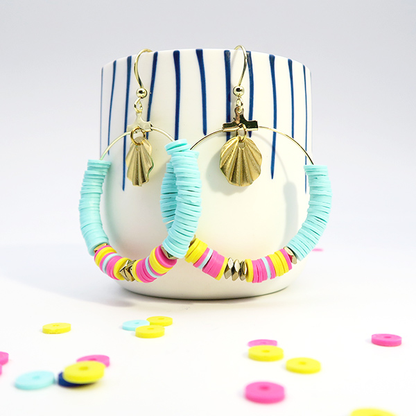Idée création créoles en perles heishi