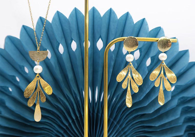 Création parure bijou nacre et doré