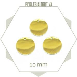 Breloque cercle 10mm en acier doré