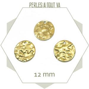 Vente pendentif ronds dorés martelés