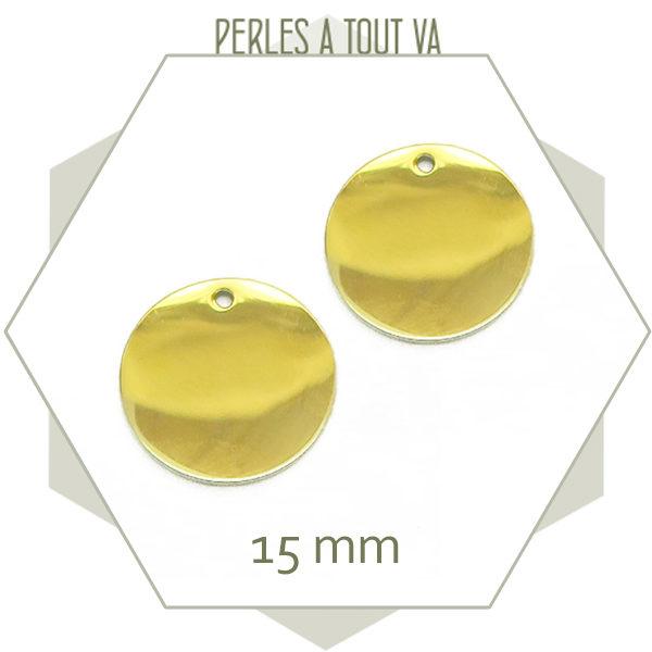 Vente pendentif rond en acier doré 15 mm