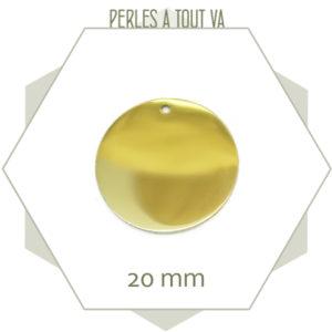 Vente pendentif rond acier doré 20 mm