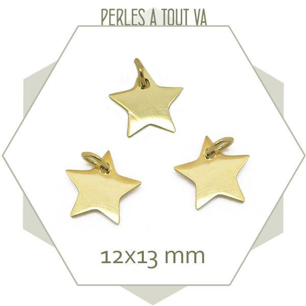Vente pendentif étoile acier doré