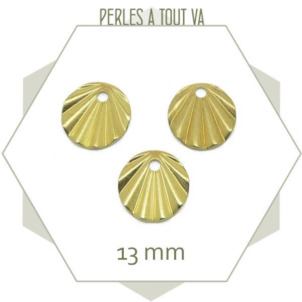 Vente breloques rondes plissés dorées