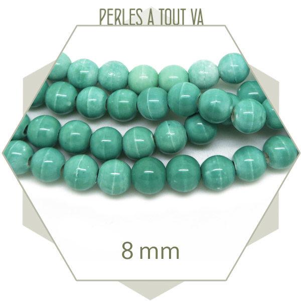 Vente perles rondes en terre cuite émaillée