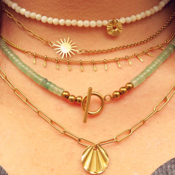 fournitures colliers chaines acier inox doré