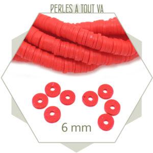 Grossiste perles heishi rouge 6 mm