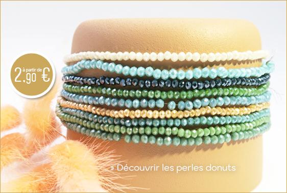 Achat perles en verre donut